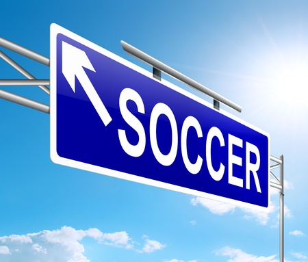 Illustration depicting a sign with a soccer concept Stock Illustration - 19438603