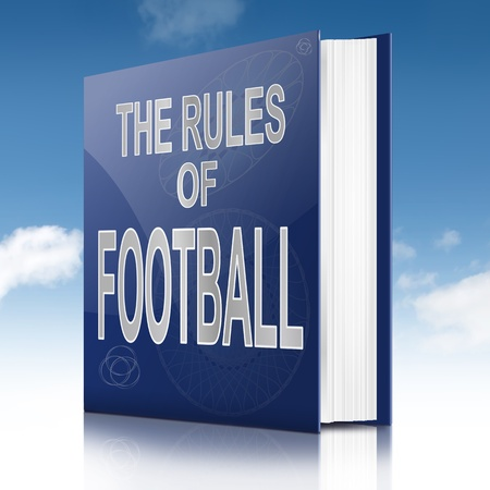 Illustration depicting a text book with a football rules concept title  Sky background  Stock Illustration - 19438598