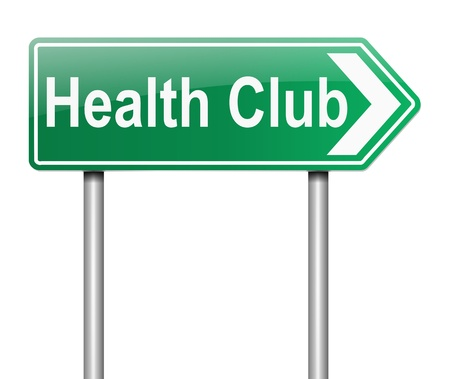 health club: Illustration depicting a sign with a health club concept.