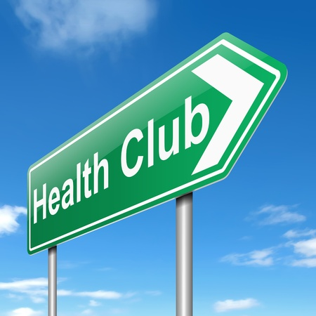 pamper: Illustration depicting a sign with a health club concept.