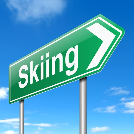 piste: Illustration depicting a sign with a skiing concept.