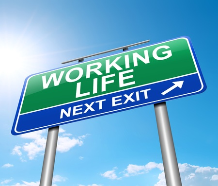 life balance: Illustration depicting a sign with a working life concept.
