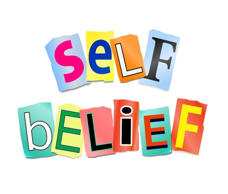 Illustration depicting cutout printed letters arranged to form the words self belief. illustration