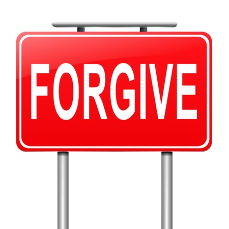 overlooking: Illustration depicting a sign with a forgive concept.