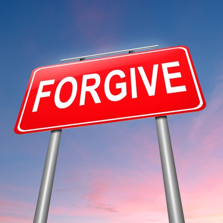 allowance: Illustration depicting a sign with a forgive concept.