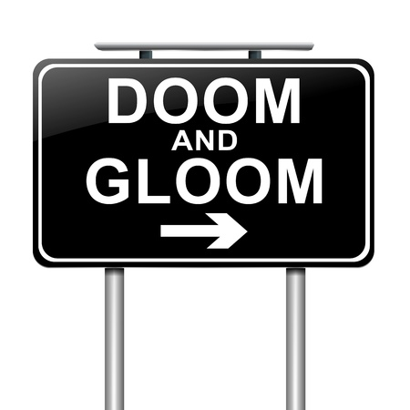 doom: Illustration depicting a sign with a doom and gloom concept. Stock Photo