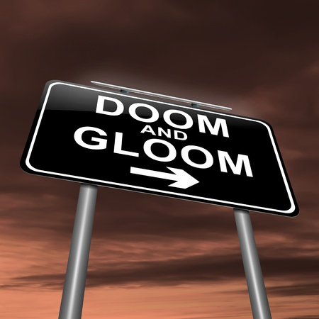 moody: Illustration depicting a sign with a doom and gloom concept. Stock Photo
