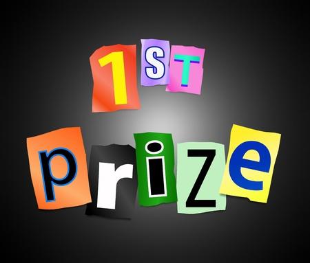 primer lugar: Ilustración que muestra letras impresas recorte dispuestas para formar las palabras 1er premio. Foto de archivo