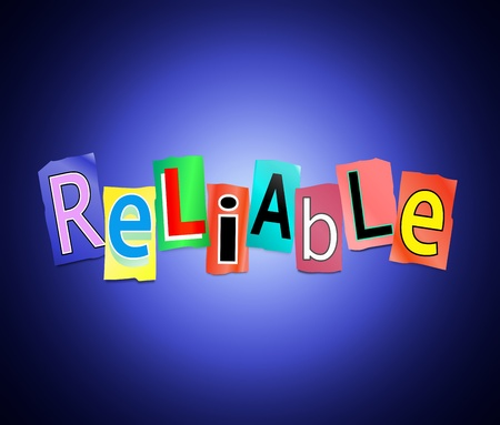 righteous: Illustration depicting cutout printed letters arranged to form the word reliable. Stock Photo