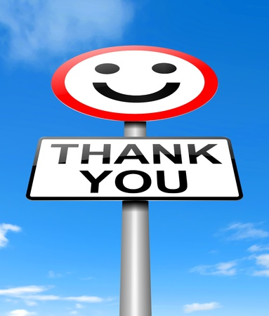 credited: Illustration depicting a sign with a thanks concept.