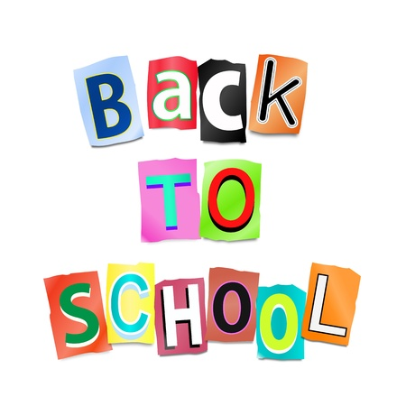 Illustration depicting cutout printed letters arranged to form the words back to school  illustration