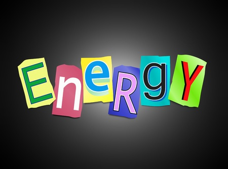 potency: Illustration depicting cutout printed letters arranged to form the word energy  Stock Photo