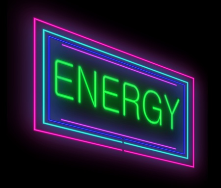 potency: Illustration depicting an illuminated neon sign with an energy concept