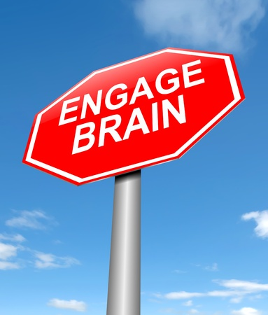 ponder: Illustration depicting a sign with an engage brain concept