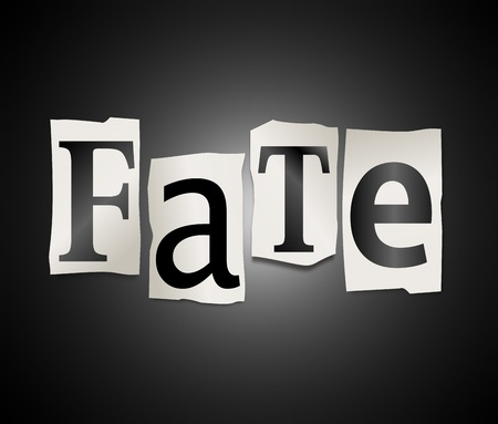 doomed: Illustration depicting cutout printed letters arranged to form the word fate