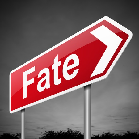doomed: Illustration depicting a sign with a fate concept