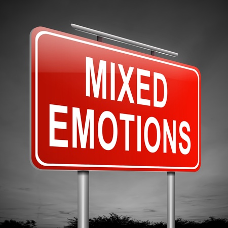 bad feeling: Illustration depicting a sign with a mixed emotions concept