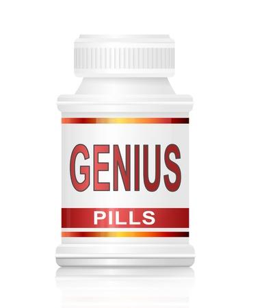 Prodigy: Ilustracja przedstawiająca opakowanie leku z koncepcji pigułki geniusza.