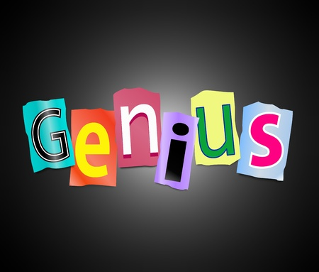 Illustration depicting cutout printed letters arranged to form the word genius. Stock Photo