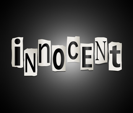 guiltless: Illustration depicting cutout printed letters arranged to form the word innocent.