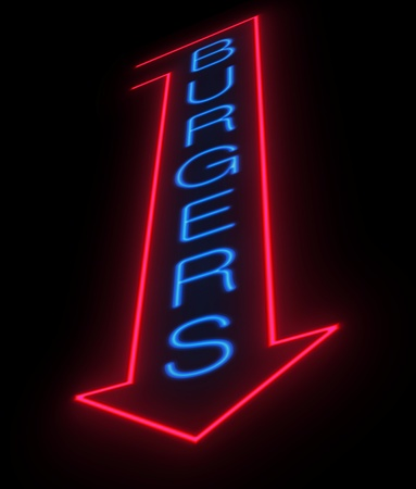 neon sign: Illustration depicting an illuminated neon burgers sign.