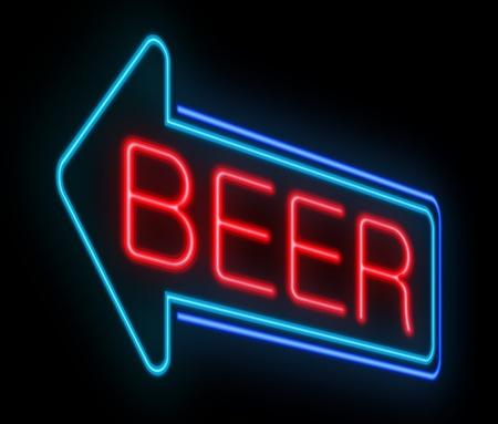 Illustration depicting an illuminated neon beer sign. illustration