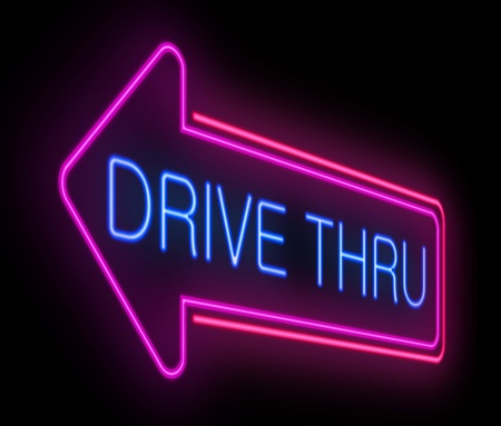food store: Illustration depicting an illuminated neon drive thru sign.