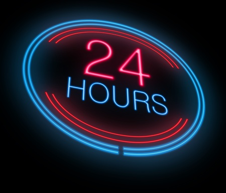 working hour: Illustration depicting an illuminated neon 24 hours sign. Stock Photo