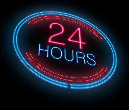 Illustration depicting an illuminated neon 24 hours sign. Archivio Fotografico