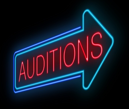 film role: Illustration depicting an illuminated neon auditions sign.