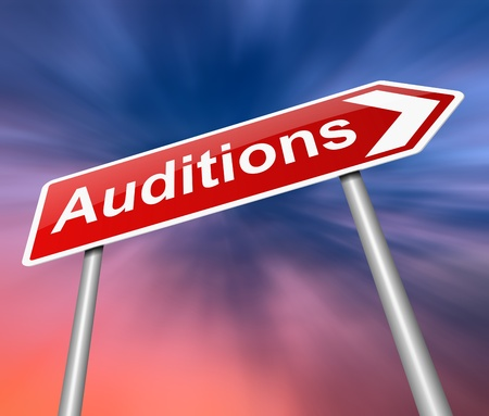 film role: Illustration depicting a sign with an auditions concept.