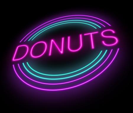 Illustration depicting an illuminated neon donuts sign. illustration