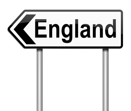 depicting: Illustration depicting a sign directing to England.