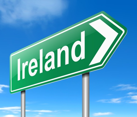 Illustration depicting a sign directing to Ireland. Stock Illustration - 19589085