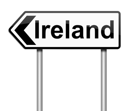 directing: Illustration depicting a sign directing to Ireland. Stock Photo