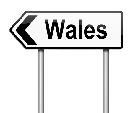 wales: Illustration depicting a sign directing to Wales.