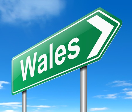 Illustration depicting a sign directing to Wales. Stock Illustration - 19589082
