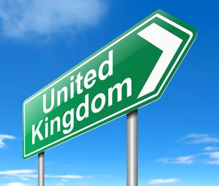 Illustration depicting a sign directing to United Kingdom. Stock Illustration - 19589086