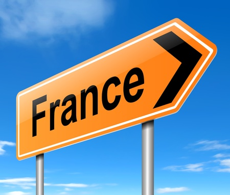 Illustration depicting a sign directing to France. Stock Illustration - 19589083