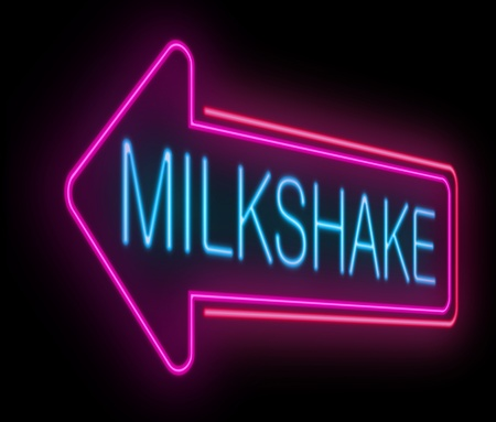 Illustration depicting an illuminated neon milkshake sign. illustration