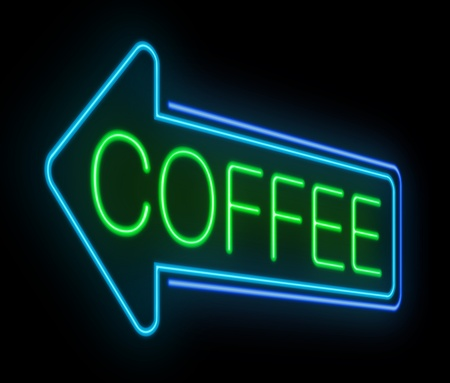 Illustration depicting an illuminated neon coffee sign. illustration
