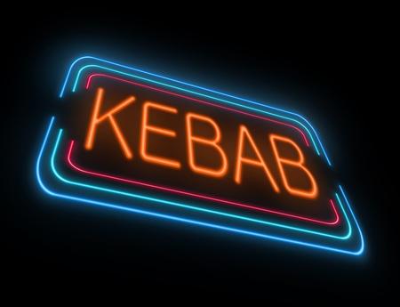 kebab: Illustration depicting an illuminated neon kebab sign.