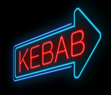 Illustration depicting an illuminated neon kebab sign. illustration