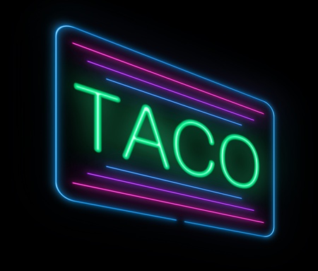 Illustration depicting an illuminated neon taco sign  illustration