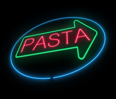 Illustration depicting an illuminated neon pasta sign  illustration