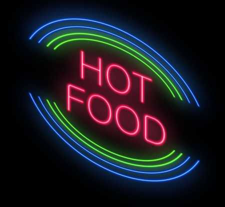 Illustration depicting an illuminated neon hot food sign  illustration