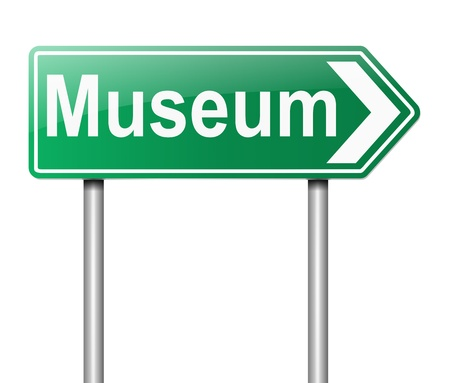 cultural artifacts: Illustration depicting a sign directing to Museum