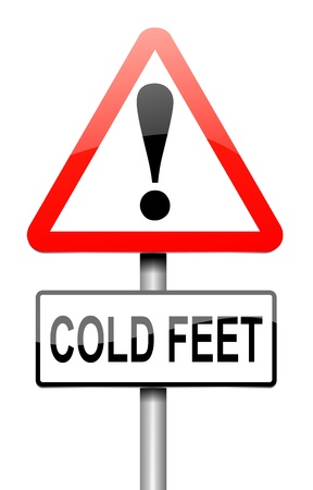 coward: Illustration depicting a sign with a cold feet concept