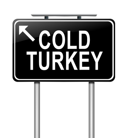 Illustration depicting a sign with a cold turkey concept  illustration