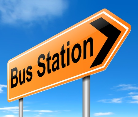 Illustration depicting a sign with directions to the bus station. Stock Illustration - 19752510